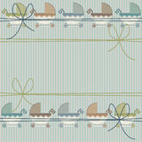 Stylish childish seamless pattern with cute baby carriage and bo Stock Photo