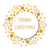 Stylish Christmas card with gold sparkling dots. Stock Image
