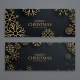 Stylish christmas festival banners template with snowflakes Stock Photos