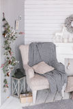 Stylish Christmas interior decorated in gray colors. Royalty Free Stock Photos