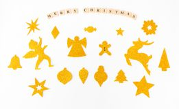 Stylish christmas shapes mock up. handcrafted cutouts for christmas time. top view. stock images