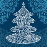 Stylish Christmas tree. On beautiful background, vector Stock Images