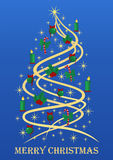 Stylish Christmas tree. Stylized Christmas tree with golden stars, Christmas tree decorations on blue background Stock Image