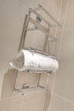 Stylish Chrome plated towel rail Stock Photo