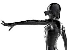 The stylish chromeplated cyborg the woman. 3d illustration. Royalty Free Stock Photography