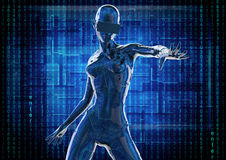 The stylish chromeplated cyborg the woman. 3d illustration. Royalty Free Stock Photos