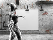 The stylish chromeplated cyborg the woman near pictures on a wall in the old room. 3d illustration. Royalty Free Stock Image