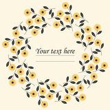 Stylish circle frame with chamomile flowers. Can be used for greeting card, baby shower invitation, wedding invitation and more creative designs Stock Image
