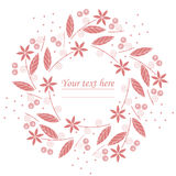Stylish circle frame with red flowers and berries on white backg Royalty Free Stock Photos