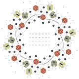 Stylish circle frame with red flowers and green butterflies isol Royalty Free Stock Photos