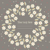 Stylish circle frame with white flowers Royalty Free Stock Photography