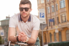 Stylish city biker Royalty Free Stock Image