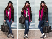 The stylish city girl in sunglasses Stock Photos
