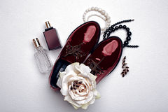 Stylish claret shoes and accessories Stock Photography