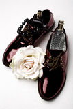 Stylish claret shoes and accessories Stock Photos