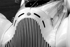 Stylish classic 1930s Alfa Romeo Italian sports car detail. 1931 Alfa Romeo 6C 1750 Zagato Aprile roadster racing sports car at concours in south Florida. front royalty free stock image