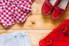 Stylish clothes for a bright woman Royalty Free Stock Photos