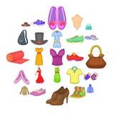 Stylish clothes icons set, cartoon style. Stylish clothes icons set. Cartoon set of 25 stylish clothes vector icons for web isolated on white background Stock Image