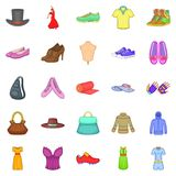 Stylish clothes icons set, cartoon style. Stylish clothes icons set. Cartoon set of 25 stylish clothes vector icons for web isolated on white background Stock Photos