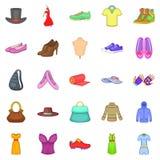 Stylish clothes icons set, cartoon style Stock Photos