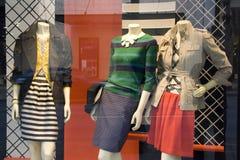 Stylish clothing on store window stock photo