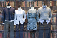 Stylish clothing on window Royalty Free Stock Image