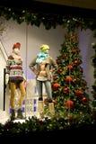 Stylish clothing on window in Christmas royalty free stock image