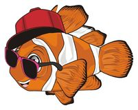 Trendy orange clownfish. Stylish clownfish in cap and sunglasses Royalty Free Stock Photography
