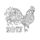 Stylish cock, or rooster and number 2017. Stylish cock, or rooster and numbers 2017  on white background. Symbol of New Year. Zentangle inspired style. Zen Royalty Free Stock Images