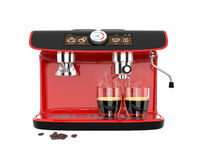 Stylish coffee machine brewing espresso in two glasses. Original design with clipping path. Royalty Free Stock Photo