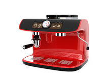 Stylish coffee machine with touch screen. 3D rendering image with clipping path. Red stylish coffee machine with touch screen. 3D rendering image with clipping vector illustration