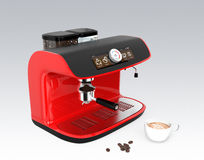Stylish coffee machine with touch screen. 3D rendering image with clipping path. Red stylish coffee machine with touch screen. 3D rendering image with clipping Royalty Free Stock Photos