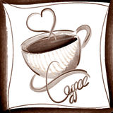 Stylish Coffee vector illustration watercolor style Stock Images