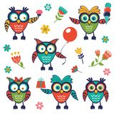 A stylish collection of cute, funny owls. Vector illustration Stock Images