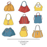 Stylish collection of 9 fashion formless  bags, isolated on white background. Color illustration with bags in red, yellow an. D blue. Hand drawn fashion trend Royalty Free Stock Photography