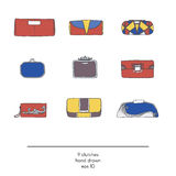 Stylish collection of 9 fashion  small clutch bags, isolated on white background. Color illustration in red, yellow and blue Stock Photo