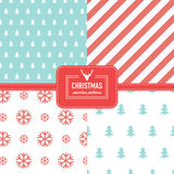 Stylish collection patterns. Set of Christmas simple retro winter seamless patterns. Stylish collection patterns Stock Photos