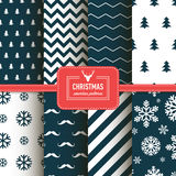 Stylish collection patterns. Set of Christmas simple retro winter seamless patterns. Stylish collection patterns Royalty Free Stock Image