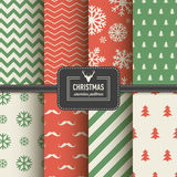 Stylish collection patterns. Set of Christmas simple retro winter seamless patterns. Stylish collection patterns Royalty Free Stock Images