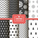 Stylish collection patterns. Set of Christmas simple retro winter seamless patterns. Stylish collection patterns Stock Image