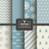 Stylish collection patterns. Set of Christmas simple retro winter seamless patterns. Stylish collection patterns Royalty Free Stock Photos