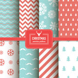 Stylish collection patterns. Set of Christmas simple retro winter seamless patterns. Stylish collection patterns Stock Photo