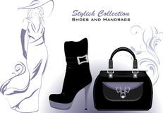 Stylish collection. Shoes and handbags Royalty Free Stock Photos