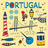 Stylish collection of typical Portuguese icons Royalty Free Stock Images