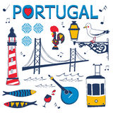 Stylish collection of typical Portuguese icons Stock Photos