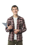 Stylish college student posing with notebook. In hand on white Royalty Free Stock Photos