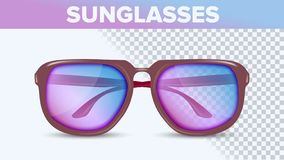 Stylish Color Sunglasses, Trendy Vector 3D Shades royalty free illustration