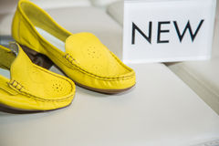 Stylish colored suede moccasins women's shoes Royalty Free Stock Photo