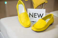 Stylish colored suede moccasins women's shoes Stock Image
