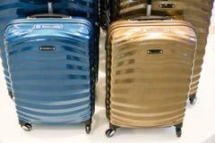 Stylish suitcases for traveling. Stylish colored suitcases for traveling Stock Photos